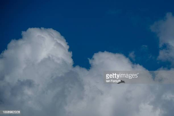 An RAF Typhoon performs for spectators during the 30th Sunderland International Air show on July 28 2018 in Sunderland England Held over three days...