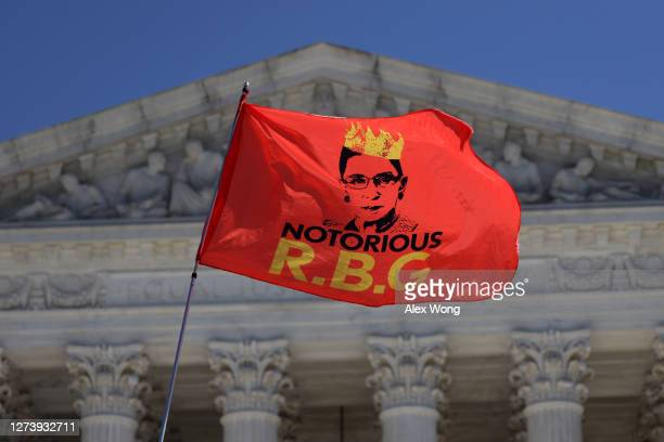 An RBG flag is flown in front of the U.S. Supreme Court for the late Justice Ruth Bader Ginsburg September 21, 2020 in Washington, DC. Justice...