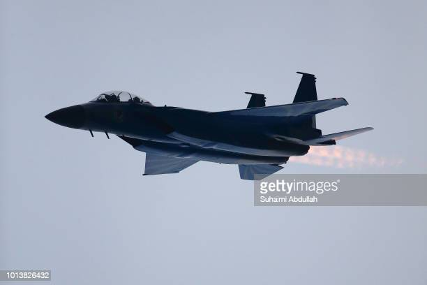 An RSAF50painted F15SG in action during the National Day Parade at Marina Bay on August 9 2018 in Singapore
