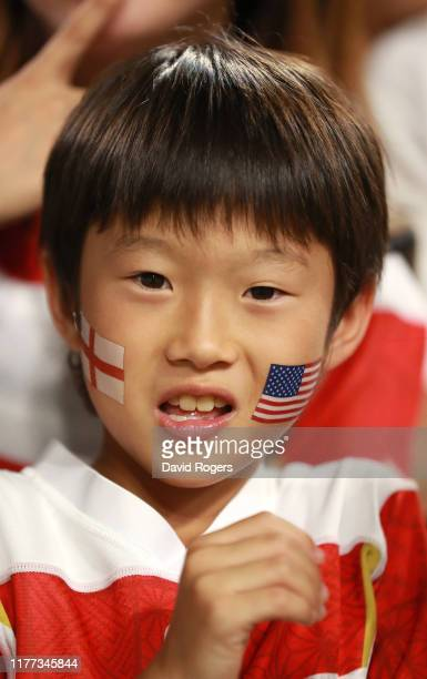 An rugby fan looks on during the Rugby World Cup 2019 Group C game between England and USA at Kobe Misaki Stadium on September 26 2019 in Kobe Hyogo...