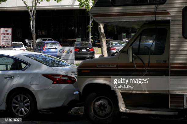 An RV sits parked next to Google headquarters on May 22 2019 in Mountain View California As the price of rent continues to skyrocket in the San...