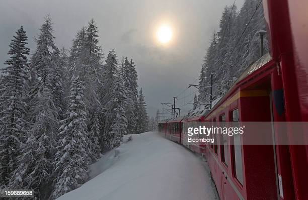 An SBB AG train is driven towards the town of Davos the venue of the World Economic Forum's 2013 annual meeting in Davos Switzerland on Thursday Jan...