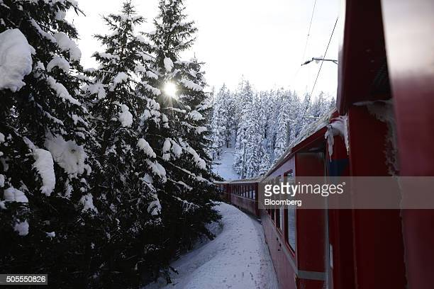 An SBB AG train makes its way towards the town of Davos the venue for the World Economic Forum in Davos Switzerland on Monday Jan 18 2016 World...