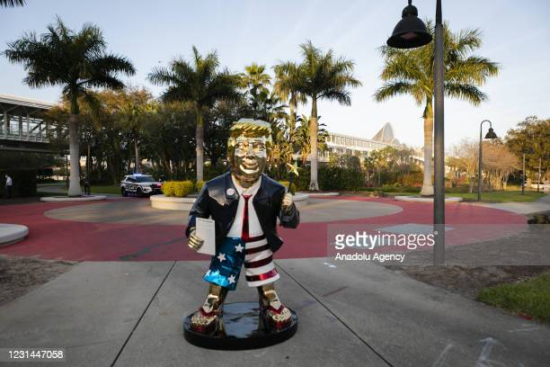 An sculpture depicting U.S. Former president Donald Trump is seen outside the Hyatt Regency Hotel during the Conservative Political Action...