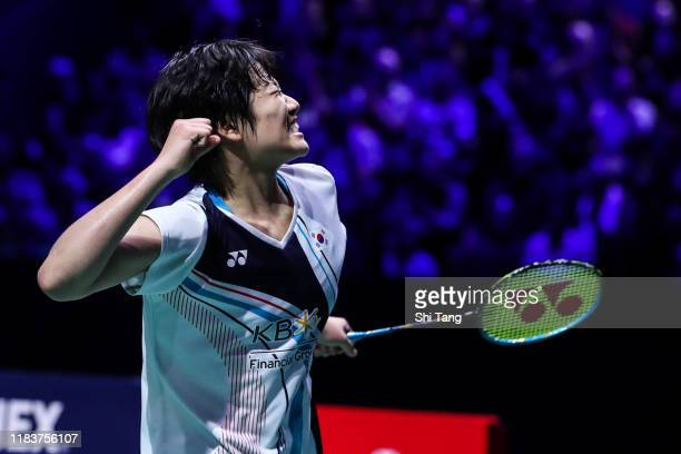 An Se Young of Korea celebrates the victory in the Women's Single final match against Carolina Marin of Spain on day six of the French Open at Stade...