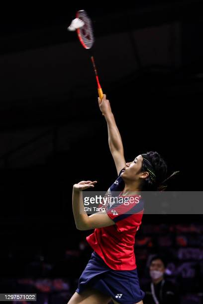 An Se Young of Korea competes in the Women's Singles second round match against Yeo Jia Min of Singapore on day three of the Toyota Thailand Open on...