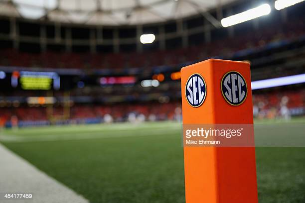 An 'SEC' logo is seen on an end zone pylon before the Missouri Tigers take on the Auburn Tigers during the SEC Championship Game at Georgia Dome on...