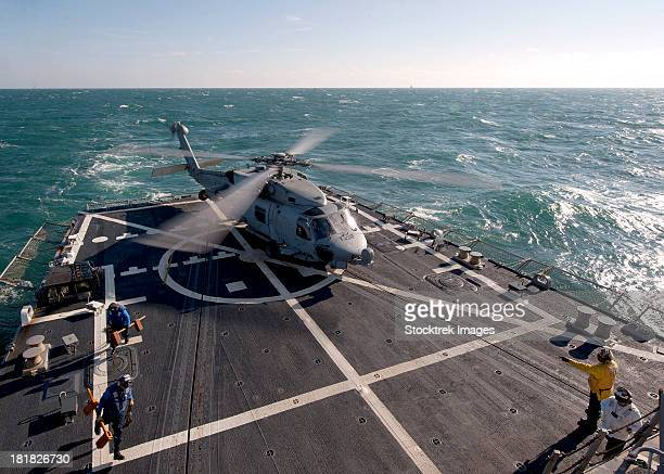 An SH-60B Sea Hawk on the flight deck of USS James E. Williams.