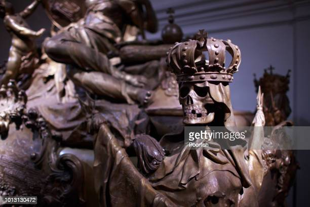 an skull ornament of the sarcophagus - hapsburg dynasty stock pictures, royalty-free photos & images