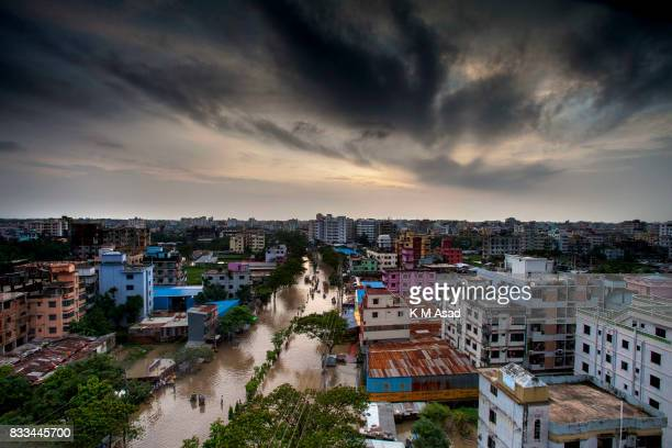 AGRABAD DHAKA CHITTAGONG BANGLADESH An skyline view of a flooded Chittagong People traveling in flooded areas in Chittagong Chittagong city is facing...