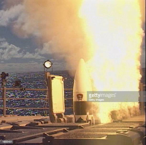 An SM-3 Aegis missile launches November 21, 2002 from the Ticonderoga class guided missile cruiser USS Lake Erie. A target missile was also launched...