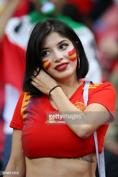 An Spain fan enjoys the pre match atmosphere outside the stadium prior during the 2018 FIFA World Cup Russia group B match between Iran and Spain at...