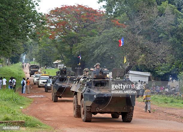 An squadron of the French National Gendarmerie of Versailles incorparated in the 13 Battalion of Chasseurs Alpin part of the Sangaris forces patrol...