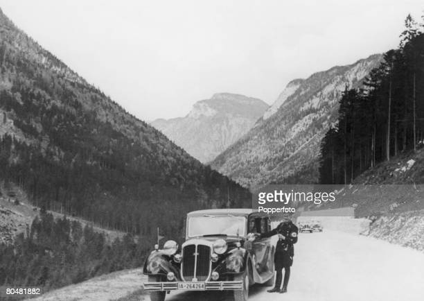 An SS guard on the road leading to the Berghof home of Nazi leader Adolf Hitler in the Bavarian Alps near Berchtesgaden Germany circa 1935