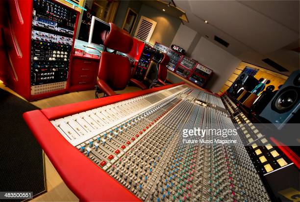 An SSL mixing console and ATC monitors in the control room of Alpha Centauri Studios in London taken on December 10 2008