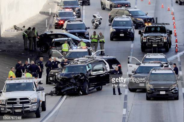 An SUV that was carrying a body in a casket and was stolen from a Pasadena church parking lot crashes on the 110 Freeway during a police pursuit on...