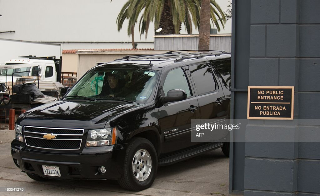 An SUV with guests of Mick Jagger and close family members of his late girlfriend LWren Scott departs Hollywood Forever Cemetery in Hollywood,California on March 25, 2014. LWren Scott killed herself in New York last week. The service was held at the famed Hollywood Forever Cemetery in Los Angeles, which was closed for the roughly one-hour service, held amid tight security.