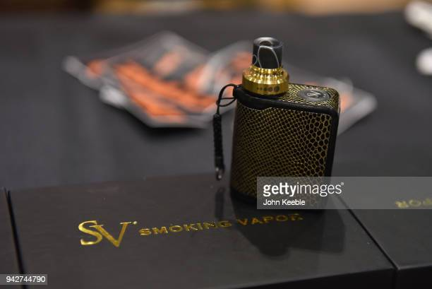 An SV Smoking Vapor E Cigarette on display at the Vape Jam UK 4 at ExCel on April 6 2018 in London England Vape Jam UK the premier Electronic...