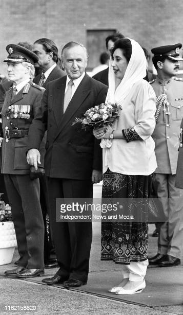 An Taoiseach Albert Reynolds with the Mohtarma Benazir Bhutto Prime Minister of the Islamic Republic of Pakistan on her arrival at Dublin Airport