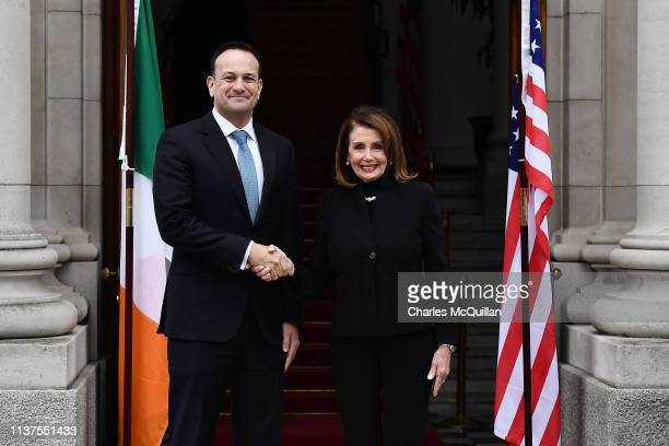 An Taoiseach Leo Varadkar meets with Speaker of the United States House of Representatives Nancy Pelosi on April 16 2019 in Dublin Ireland The...