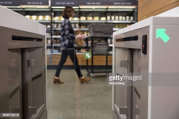 An turnstile entrance to the Amazon Go store is seen in Seattle Washington US on Wednesday Jan 17 2018 After more than a year of testing with an...