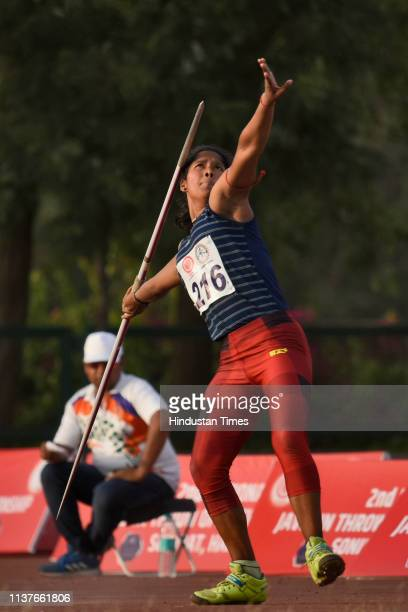 An U18 player competes in the Women's 2nd National Javelin Throw Open Championship at Sports Authority of India on April 15 2019 in Sonipat India