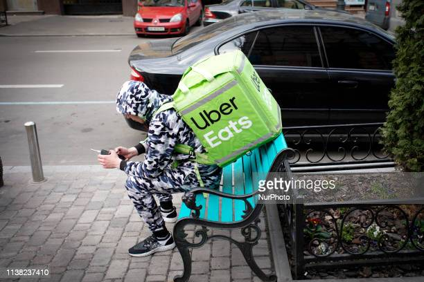 An Uber Eats delivery carrier is seen in Kyiv Ukraine on April 19 2019 On Sunday Ukrainians will vote in the second and final round of the...