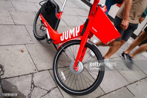 An Uber Jump bike stands on High Holborn in London England on July 26 2019 The electric bicyclesharing scheme was launched in May this year seeing...