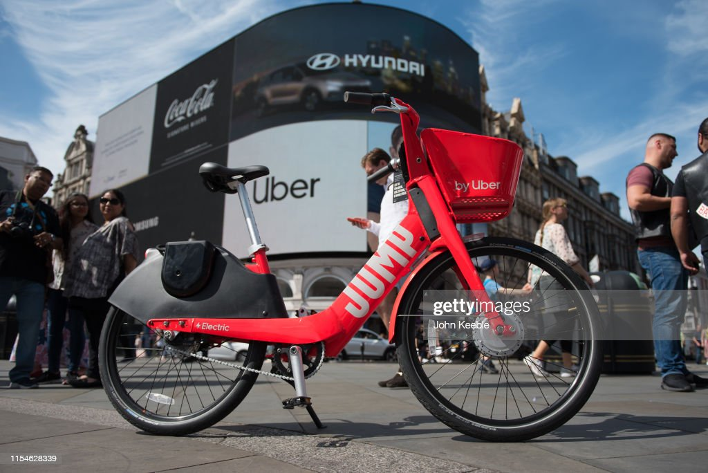 An Uber JUMP on-demand dockless electric bike is pictured at