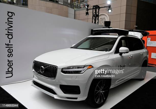 An Uber selfdriving Volvo is on exhibit at the Uber Elevate Summit 2019 in Washington DC June 12 2019 Uber unveiled its newest selfdriving vehicle...