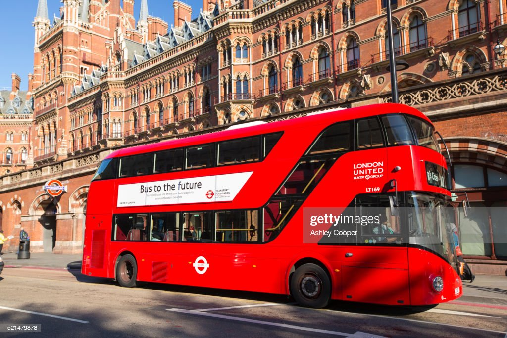 An ultra modern hybrid routemaster bus by St Pancras station in London, UK. : Stock Photo