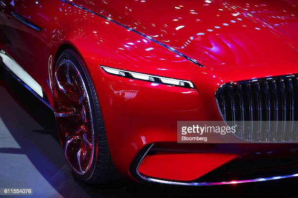 An ultraluxury Vision Mercedes Maybach 6 automobile manufactured by MercedesBenz AG sits on display during the second press day of the Paris Motor...
