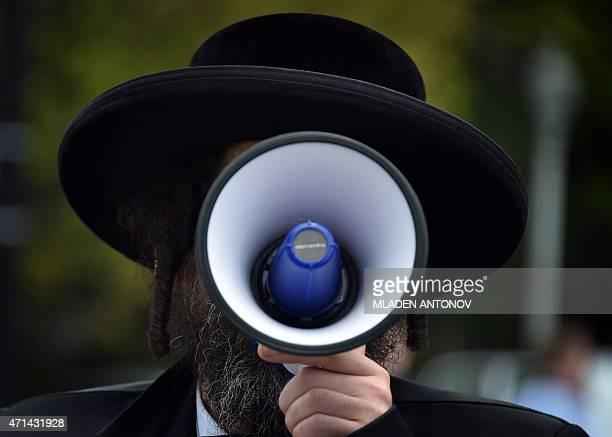 An UltraOrthodox Jew shout anti samesex marriages slogans outside the US Supreme Court on April 28 2015 in Washington DC AFP PHOTO / MLADEN ANTONOV