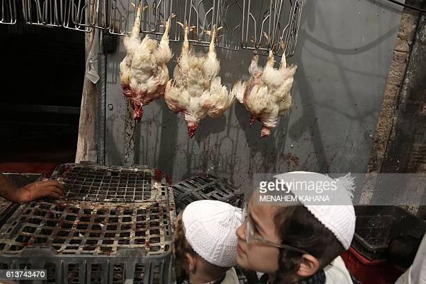 An ultraOrthodox Jewish boy looks at slaughtered chickens during the Kapparot ceremony in the UltraOrthodox neighbourhood of Mea Shearim in Jerusalem...