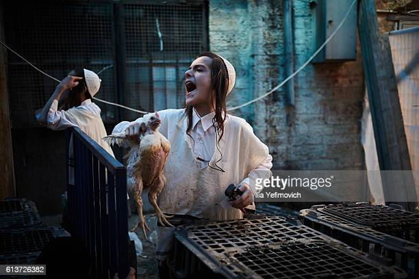 An UltraOrthodox Jewish boy sells a chicken to be used in the Kaparot ceremony on October 10 2016 in Jerusalem Israel It is believed that the Jewish...