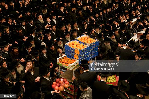 An UltraOrthodox Jewish rabbies distribute fruites during a celebration by the Belz Hasidim of the Jewish feast of 'Tu Bishvat' or Tree New Year in...