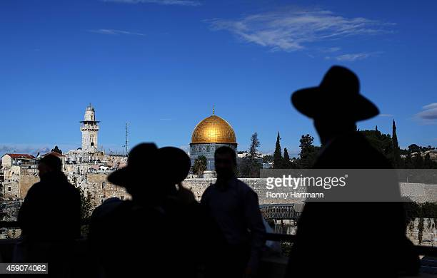 An ultraOrthodox Jews in front of the AlAqsa mosque the Old City of Jerusalem in Israel on November 16 2014 in Jerusalem Israel