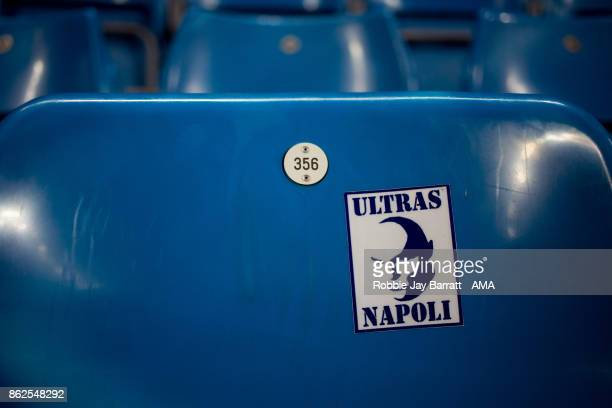 An Ultras Napoli sticker is seen on a seat during the UEFA Champions League group F match between Manchester City and SSC Napoli at Etihad Stadium on...