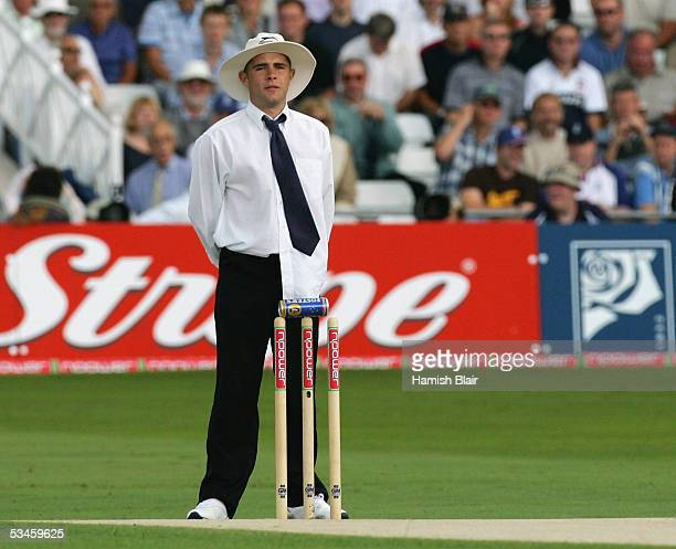 An umpire impostor who went out before play stands at the stumps during day one of the Fourth npower Ashes Test between England and Australia played...