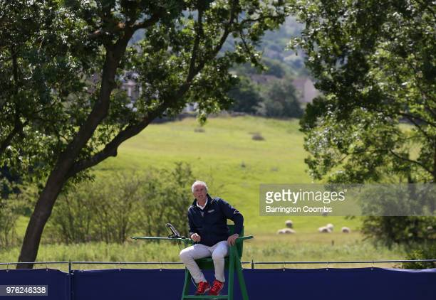 An umpire takes in his surroundings during Day One of the Fuzion 100 Ikley Trophy at Ilkley Lawn Tennis & Squash Club on June 16, 2018 in Ilkley,...