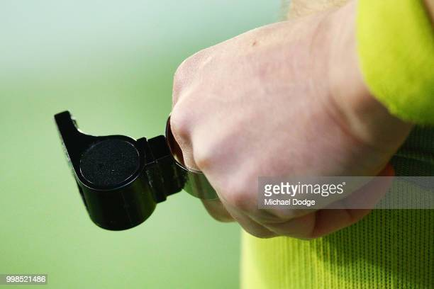 An umpires whistle is seen during the round 17 AFL match between the Melbourne Demons and the Western Bulldogs at Melbourne Cricket Ground on July 14...