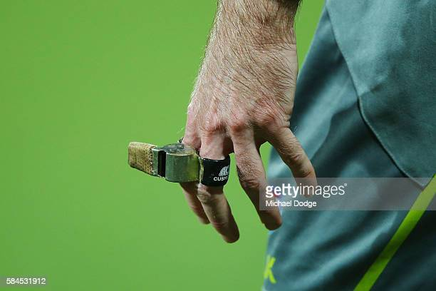 An umpires whistle is seen during the round 19 AFL match between the Geelong Cats and the Western Bulldogs at Simonds Stadium on July 29 2016 in...