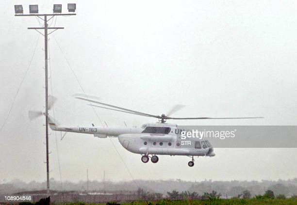 An UN helicopter takes off from Roberts International airport in Monrovia 29 March 2006 carrying former Liberia president Charles Taylor to Sierra...