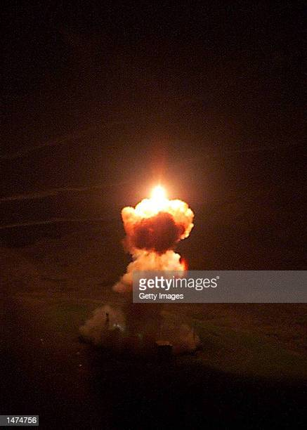 An unarmed Minuteman II intercontinental ballistic missile launches December 3 2001 from Vandenberg Air Force Base California Missile Defense Agency...