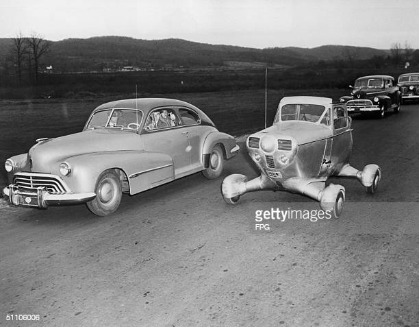 An unconventional American car adapted from the fuselage of a light aircraft circa 1948