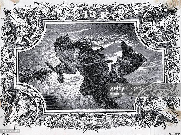 An undated engraving depicting a witch flying on a broom