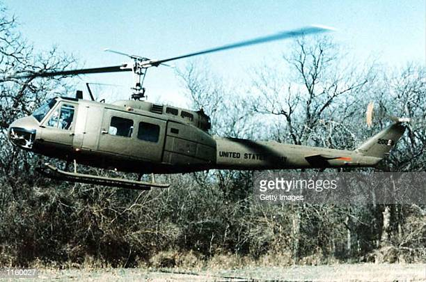 An undated file photo shows a UH1 Huey helicopter take off while on a training flight The US Army announced a new aviation modernization plan...