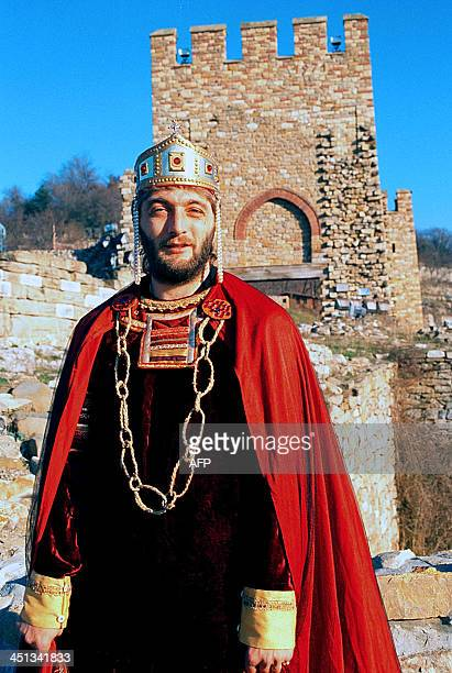 An undated file photo shows Bulgarian former soccer star Trifon Ivanov dresed as a medieval king in the city of Veliko Tarnovo AFP PHOTO / ANTON...