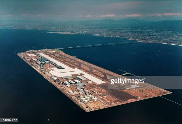 An undated file photograph of an aerial view of Japan's Kansai international airport a 511hectare manmade island in Osaka Bay located fivekilometers...