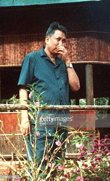 An undated file picture probably taken in 1989 in western Cambodia shows the leader of the Maoist Khmer Rouge movement Pol Pot who between 1975 and...